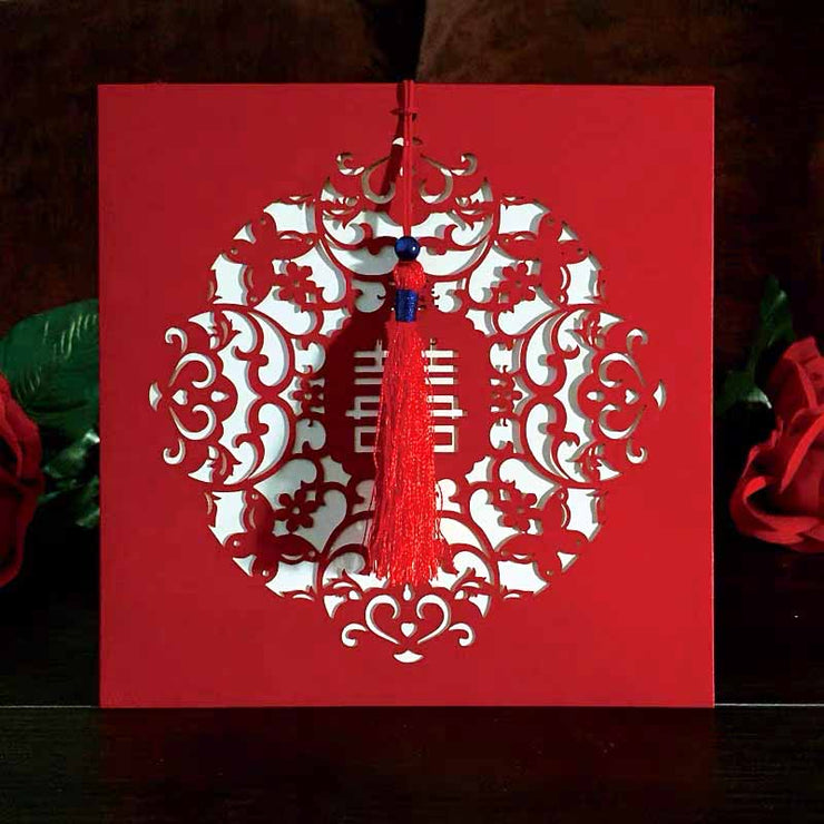 Chinese Wedding Invitation with Red Laser Cut Butterfly Design & Red Tassel 40 PCS