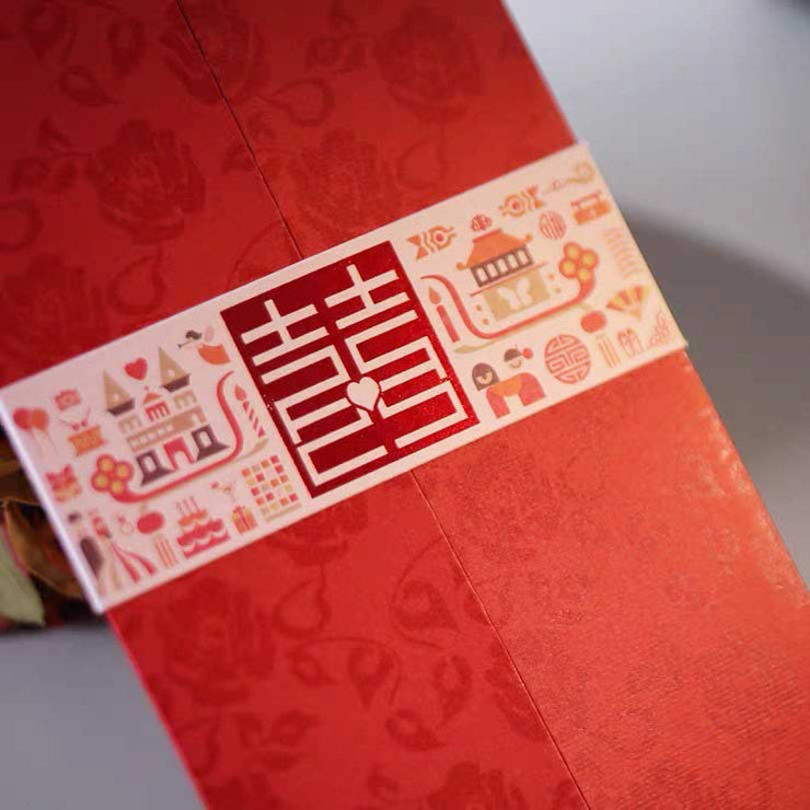 40 PCS Double Opening Red Chinese Wedding Invitation Set