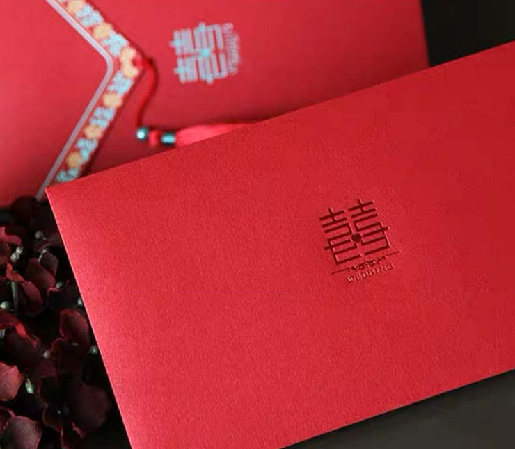 40 PCS Chinese Wedding Invitation Set with Tassel and a Touch of Silver and Gold Colors
