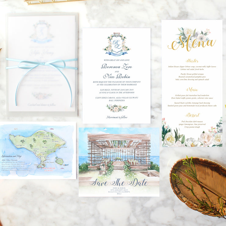 50 PCS Alila Uluwatu Watercolor Invitation Set with Elegant Semi-Clear Envelope