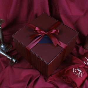 3 PCS & Up Burgundy Bridesmaid Gifts Box with Matching Ribbon