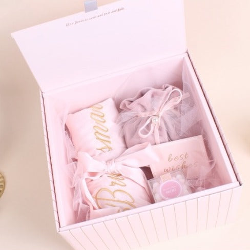 3 PCS & Up Blush Pink Bridesmaid Gifts Box with Matching Ribbon
