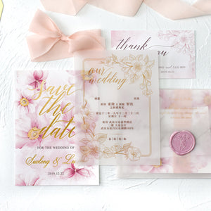50 PCS Blush Pink Watercolor Invitation Set with RSVP Card, Envelope, and 2 Main Invite Cards