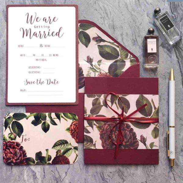 40 PCS Burgundy Maroon Floral Wedding Invitations