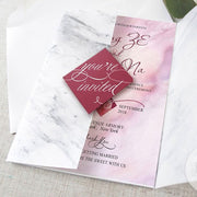 40 PCS Red Pink Marble Wedding Invitations with Red Envelope