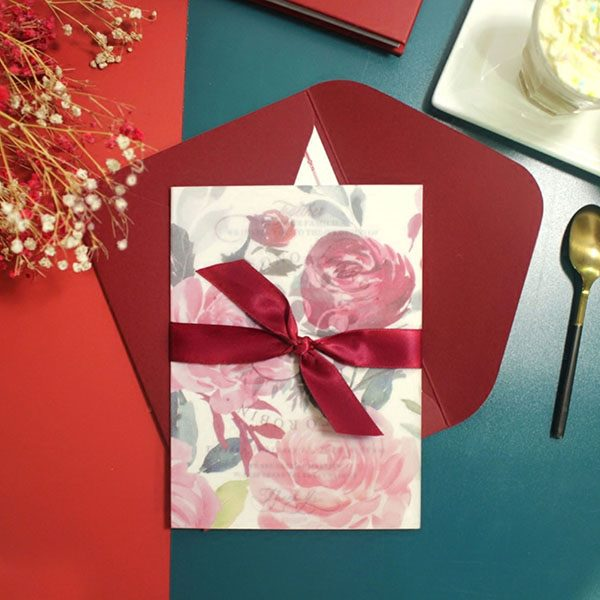 60 PCS Red Floral Wedding Invitations with Vellum Paper & Red Bow
