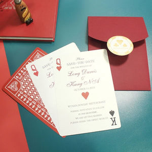 40 PCS Playing Cards Wedding Invitations with Queen & Kind Cards