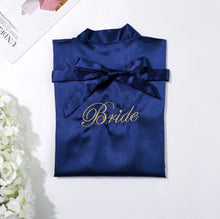Navy Blue Bridesmaids Robe with Soft Satin Fabric