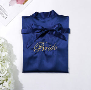 Navy Blue Bride Robe with Soft Satin Fabric
