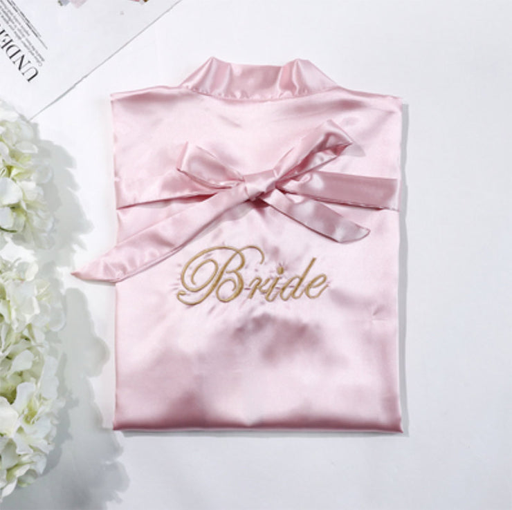 Blush Pink Bride Robe with Soft Satin Fabric