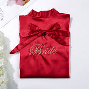 Red Bride Robe with Soft Satin Fabric