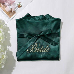 Champagne Bride Robe with Soft Satin Fabric
