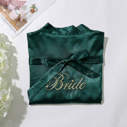 Dark Green Bride Robe with Soft Satin Fabric