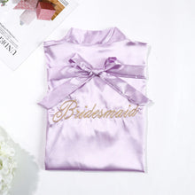 Lavender Bridesmaids Robe with Soft Satin Fabric