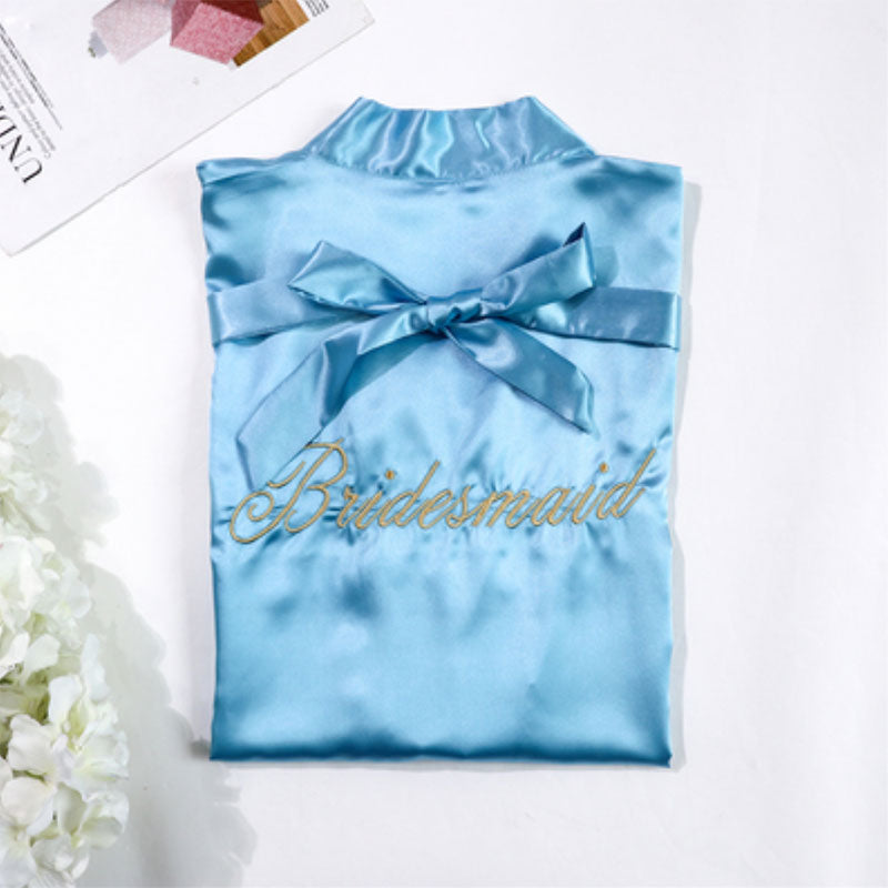 Baby Blue Bridesmaids Robe with Soft Satin Fabric