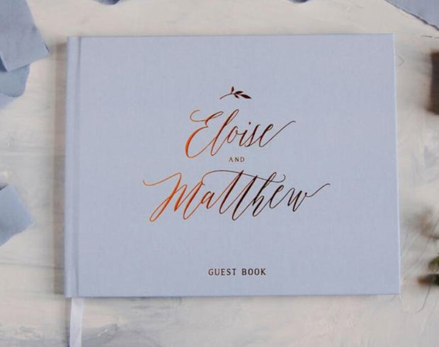 Hard Cover Wedding Guest Book with Gold Foil Lettering & Custom Color Design