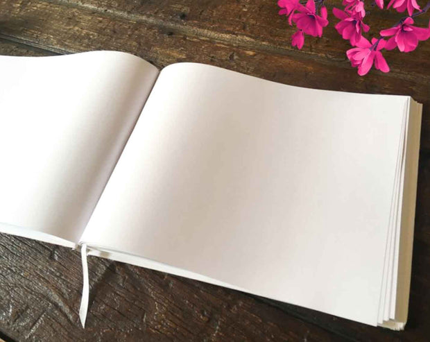 Plain White Hard Cover Wedding Guest Book with Customizable Foil Lettering