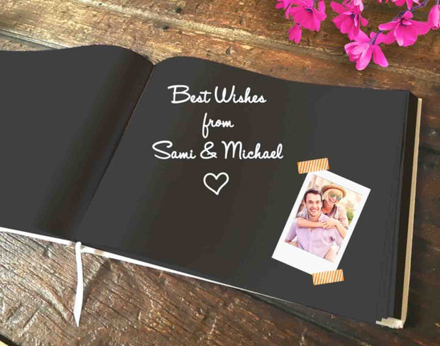 Gray Hard Cover Wedding Guest Book with Elegant Foil Lettering and Leaf Design