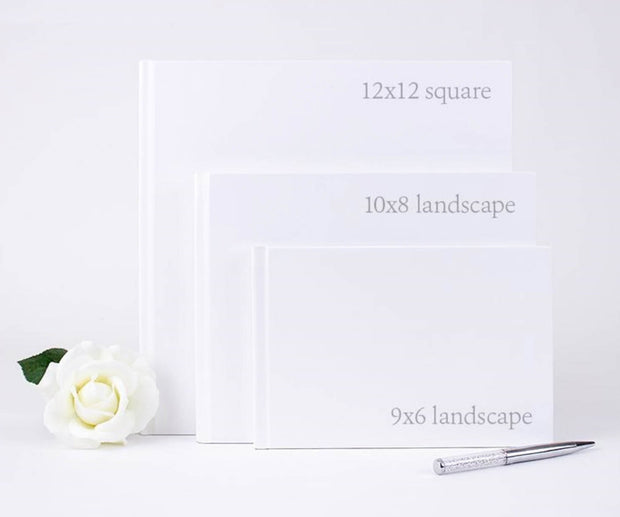 Floral Wreath Print Design Hard Cover Wedding Guest Book with Elegant Lettering & Custom Color Design