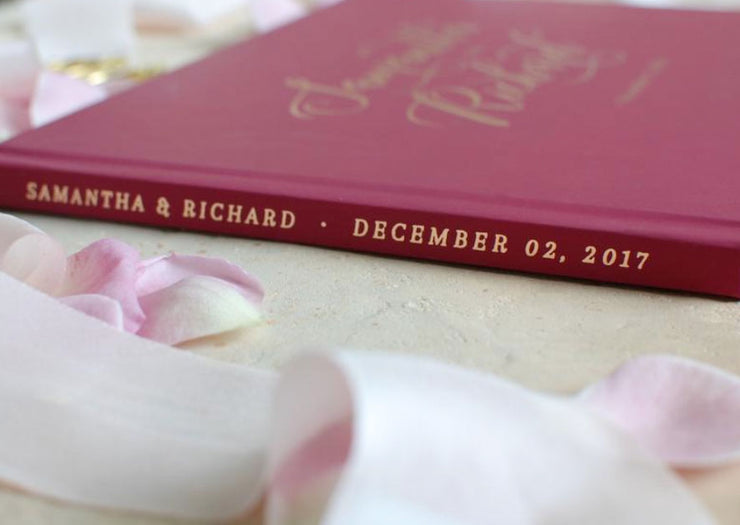 Burgundy Hard Cover Wedding Guest Book with Gold Foil Lettering & Custom Color Design