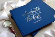 Blue Hard Cover Wedding Guest Book with Foil Lettering & Custom Color Design