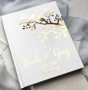 Hard Cover Wedding Guest Book with Foil Lettering and Lovebird Design Cover