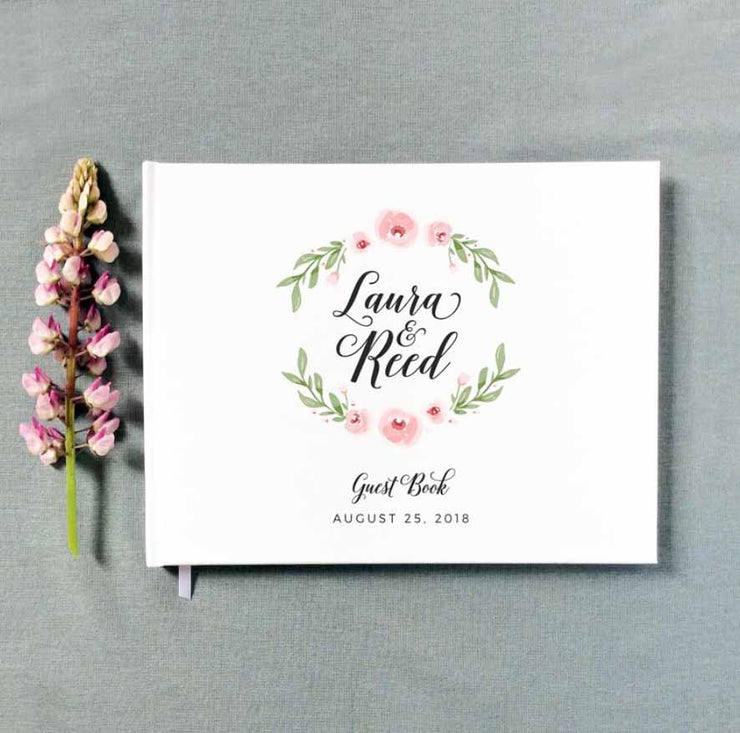 Petite Blossom Wreath Print Design Hard Cover Wedding Guest Book