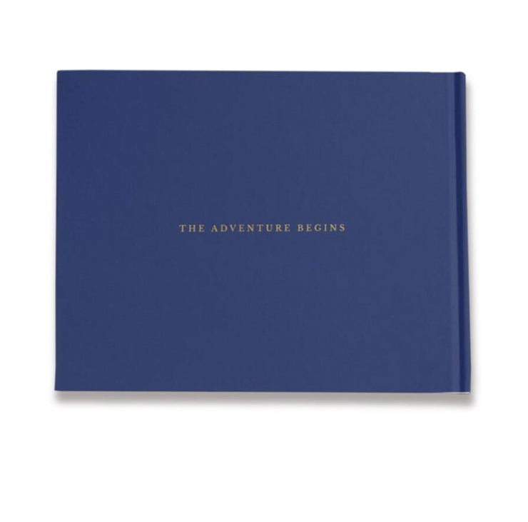 Navy Blue Hard Cover Wedding Guest Book with Elegant Calligraphy