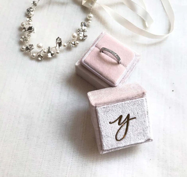 Blush Pink Velvet Ring Box - Square Shape