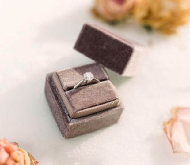 Mauve Velvet Ring Box - Square Shape