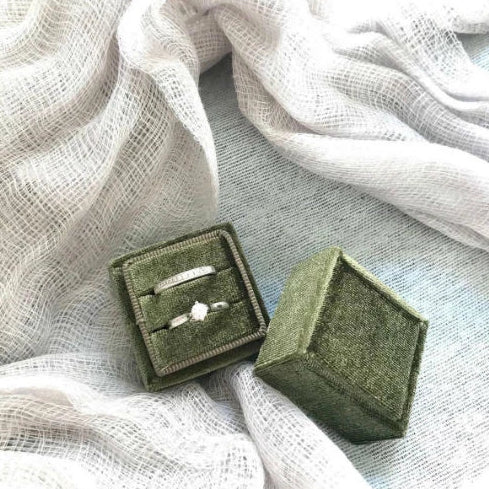 Olive Green Velvet Ring Box - Square Shape