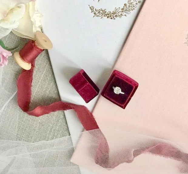 Burgundy Velvet Ring Box - Square Shape