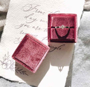 Living Coral Velvet Ring Box - Square Shape