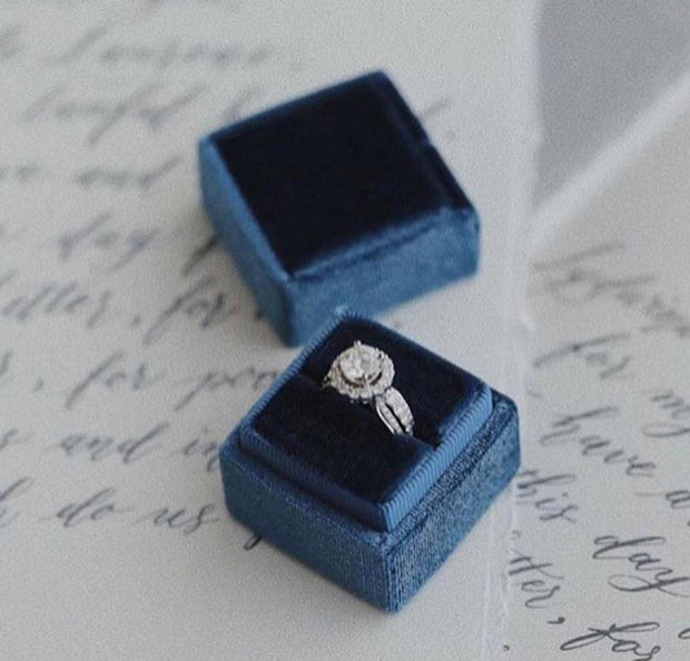 Sapphire Blue Velvet Ring Box - Square Shape