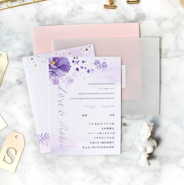 60 PCS Lavender & Gold Invites - Main Invite & Translucent Sheer Envelopes with Vellum