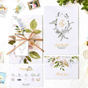 60 PCS Greenery Themed Main Invitation and Green Floral Pressed Sheer Vellum Envelope