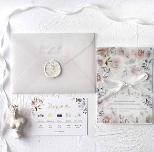 60 PCS White Gray Floral Watercolor Main Invitation and Sheer Vellum Envelope