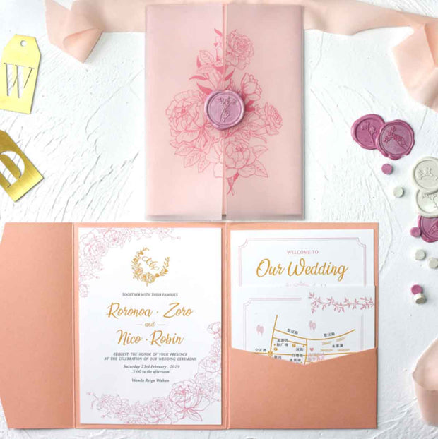 60 PCS Coral Peach Invitation with Sheer Vellum Slip & Tri-Fold Envelope