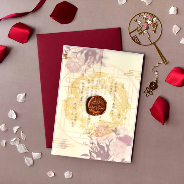 60 PCS Chinese Oriental Themed Invitation with Sheer Vellum Slip & Envelope