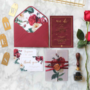 60 PCS Burgundy Red Floral Main Invitation with Sheer Slip & Envelope with Floral Lining