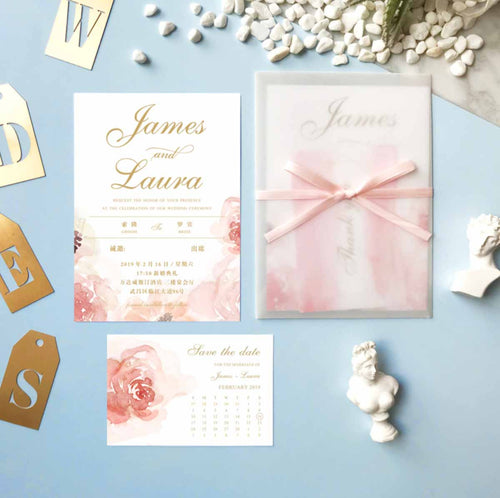 60 PCS Blush Pink Watercolor Main Invitation and Pink or Sheer Vellum Envelope