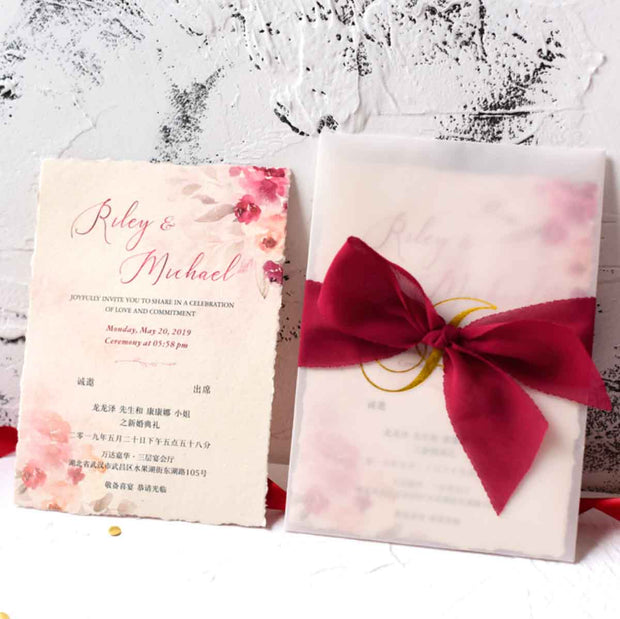 60 PCS Red & Pink Watercolor Main Invitation and Sheer Vellum Envelope