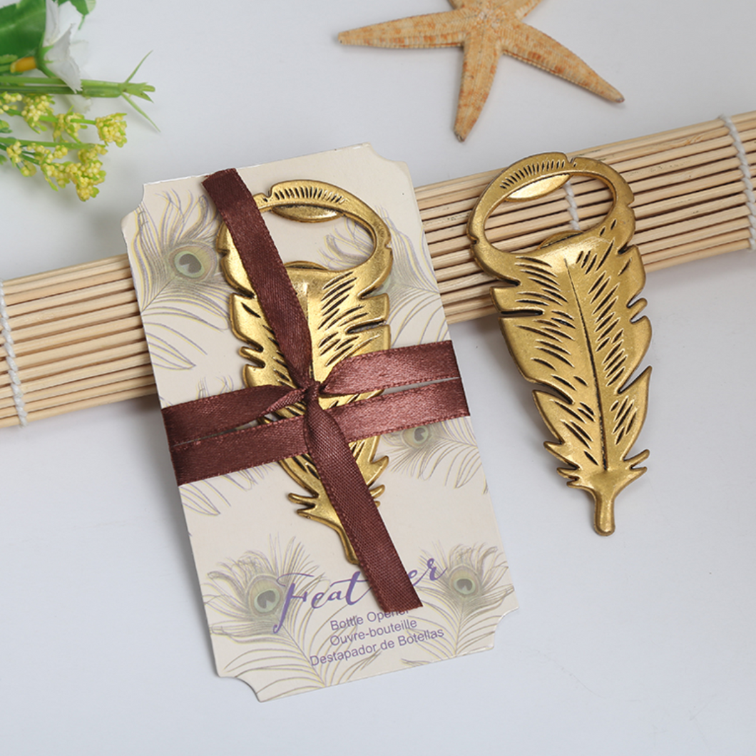 50 PCS Bohemian Feather Bottle Opener Wedding Favors