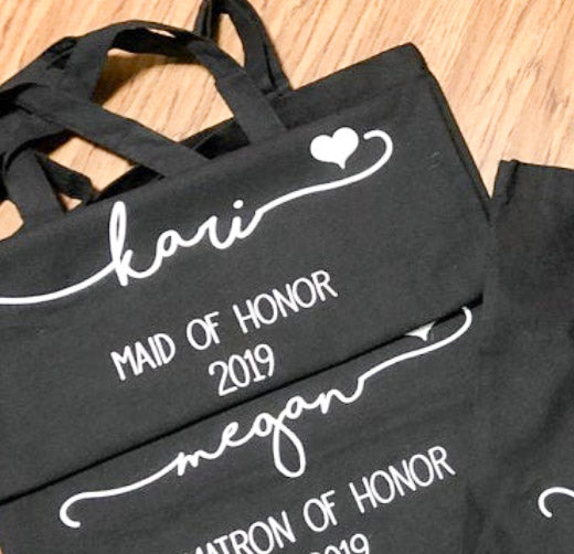 5 PCS Black Bridesmaids Tote Bag with Custom Logo or Text