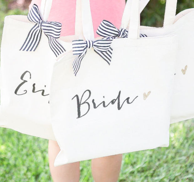 5 PCS White Bridesmaids Tote Bag with Custom Logo or Text