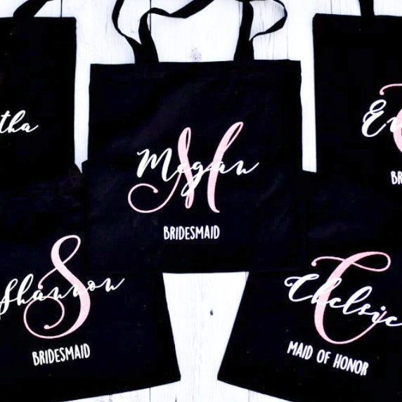 5 PCS Black Bridesmaids Tote Bag with Glitter or Foil Custom Logo or Text