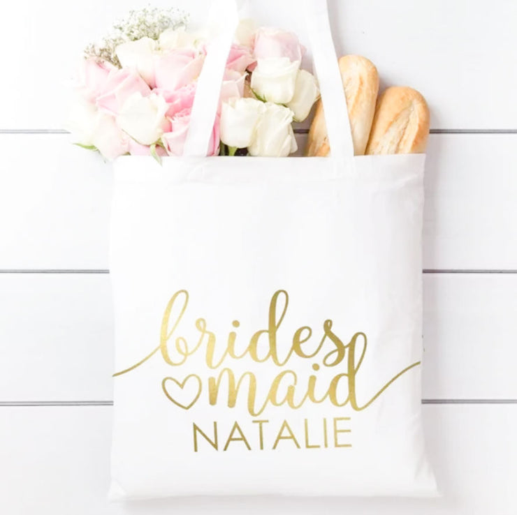 5 PCS White Bride or Bridesmaids Tote Bag with Custom Logo or Text