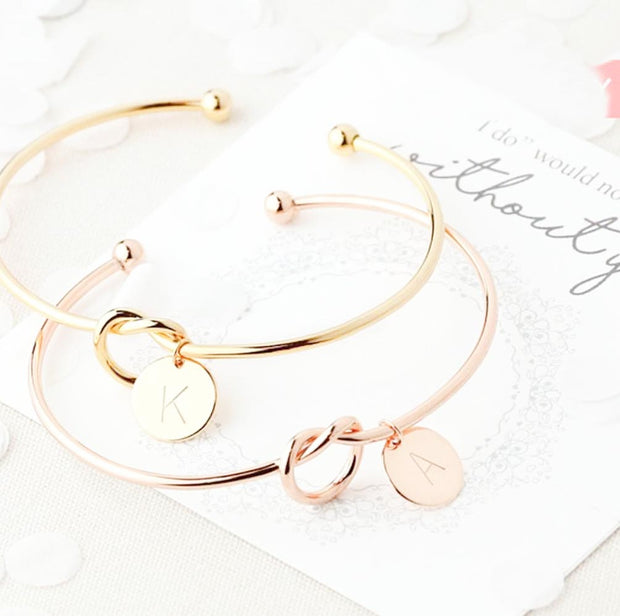 5 PCS Bridesmaids Bracelet in Rose Gold/Gold/Silver With Custom Monogram Letter
