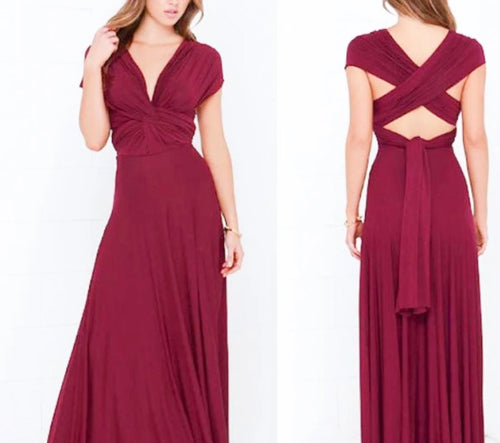 Burgundy Red Convertible Infinity Multiway Wrap Bridesmaids Dresses