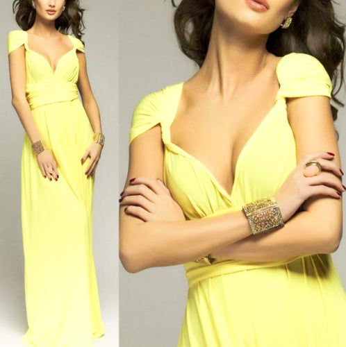 Canary Yellow Convertible Infinity Multiway Wrap Bridesmaids Dresses